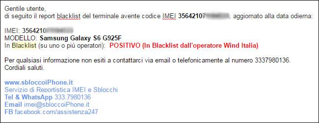 Verifica IMEI Samsung Blacklist