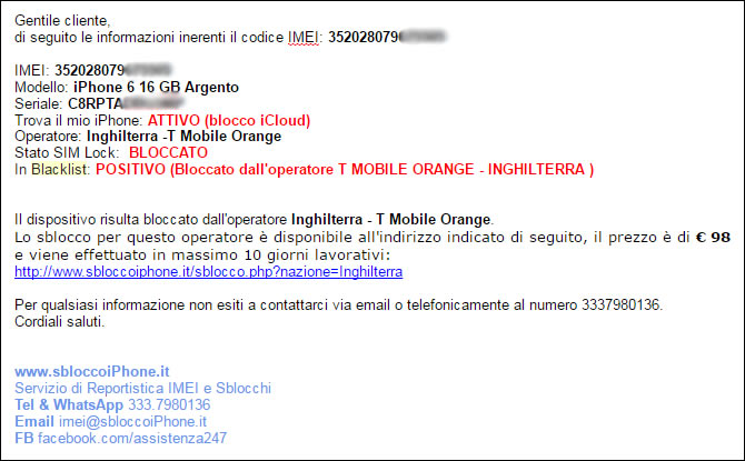 Controllo IMEI iPhone completo: verifica operatore telefonico + verifica codice IMEI blacklist